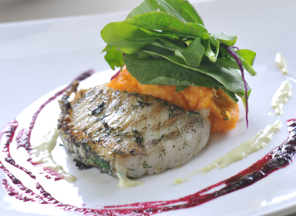 Grilled Herbed Chilean Sea Bass with Asparagus Sherbet