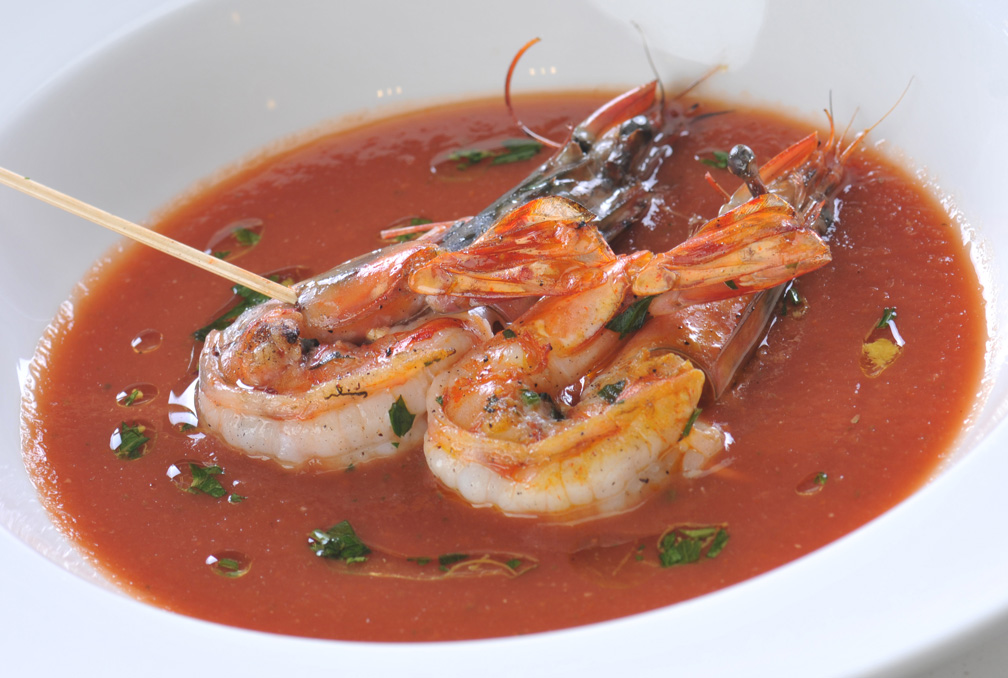 Grilled Prawns in Chilled Tomato Soup with Gremolata