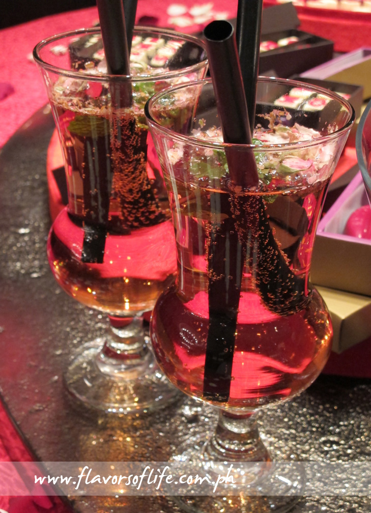 Love Potion cocktail drink, which contains Moet Rose, Rosé and syrup