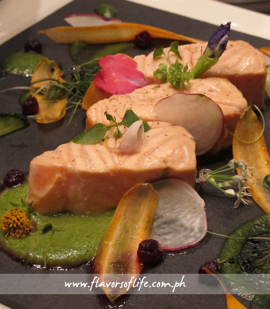 Poached Salmon with Spring Vegetables and Flowers