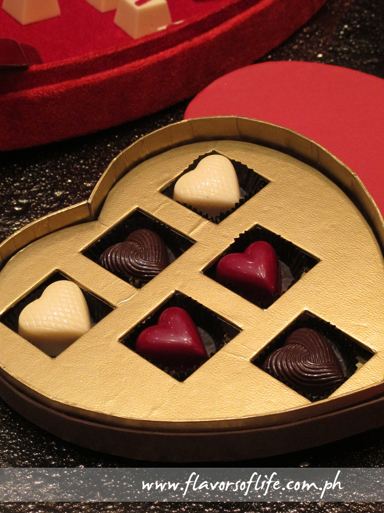 Personalized chocolates in a heart-shaped box