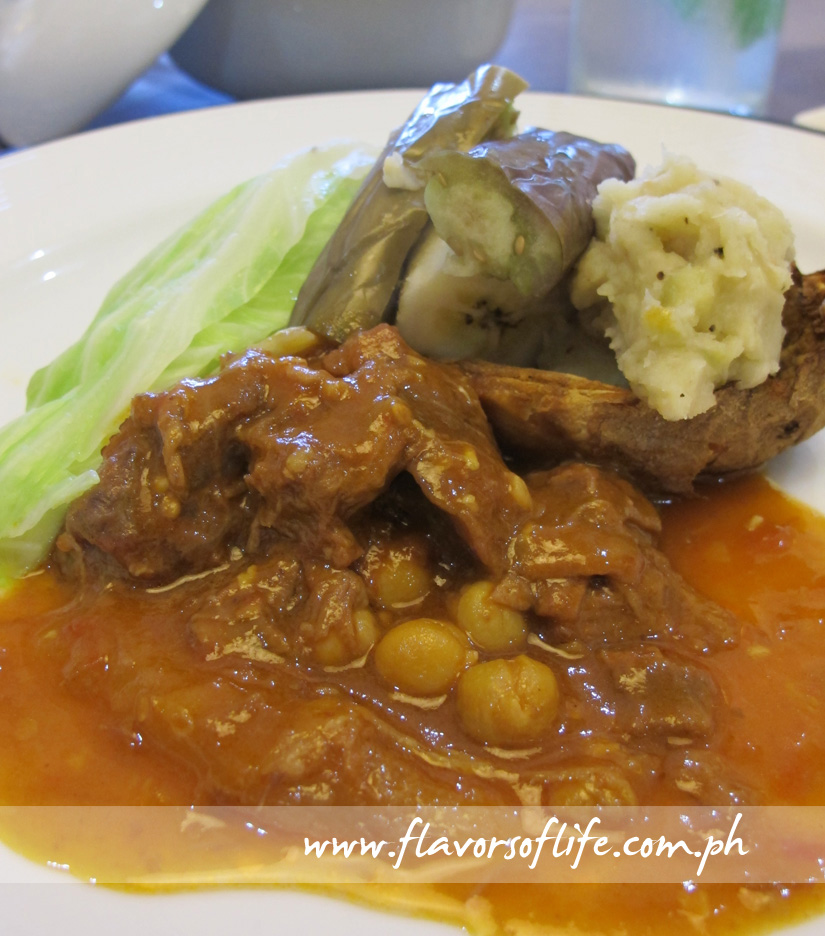 Baked Adobo Potato and Eggplant Relish paired with Beef Cocido
