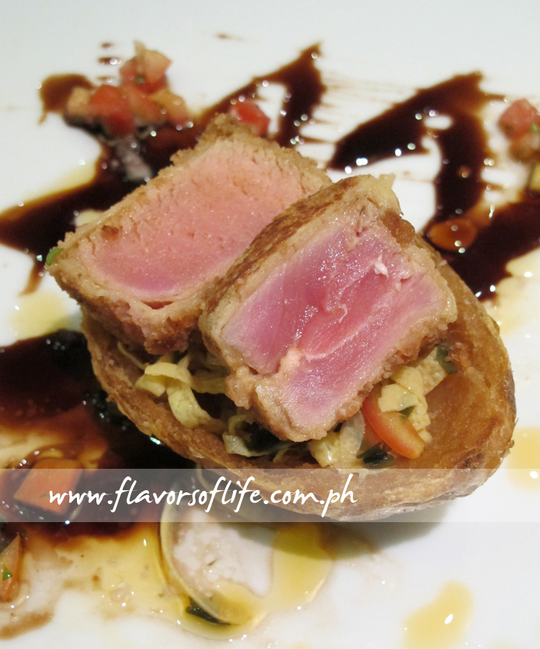 Seared Tuna Crumbed with Crushed Fried Straight-cut Potato Kani Salad Served in a Crispy Shell