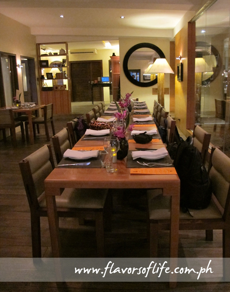Ou long table in the main dining room of Anzani New Mediterranean Restaurant
