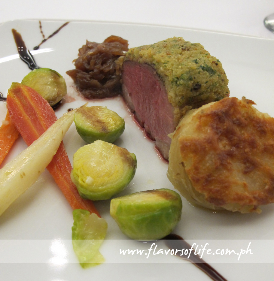 Potato-crusted Confit of Duck Breast with Onion Jam
