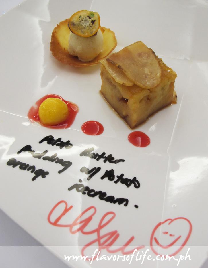 Potato Butter Pudding with Potato Orange Ice Cream