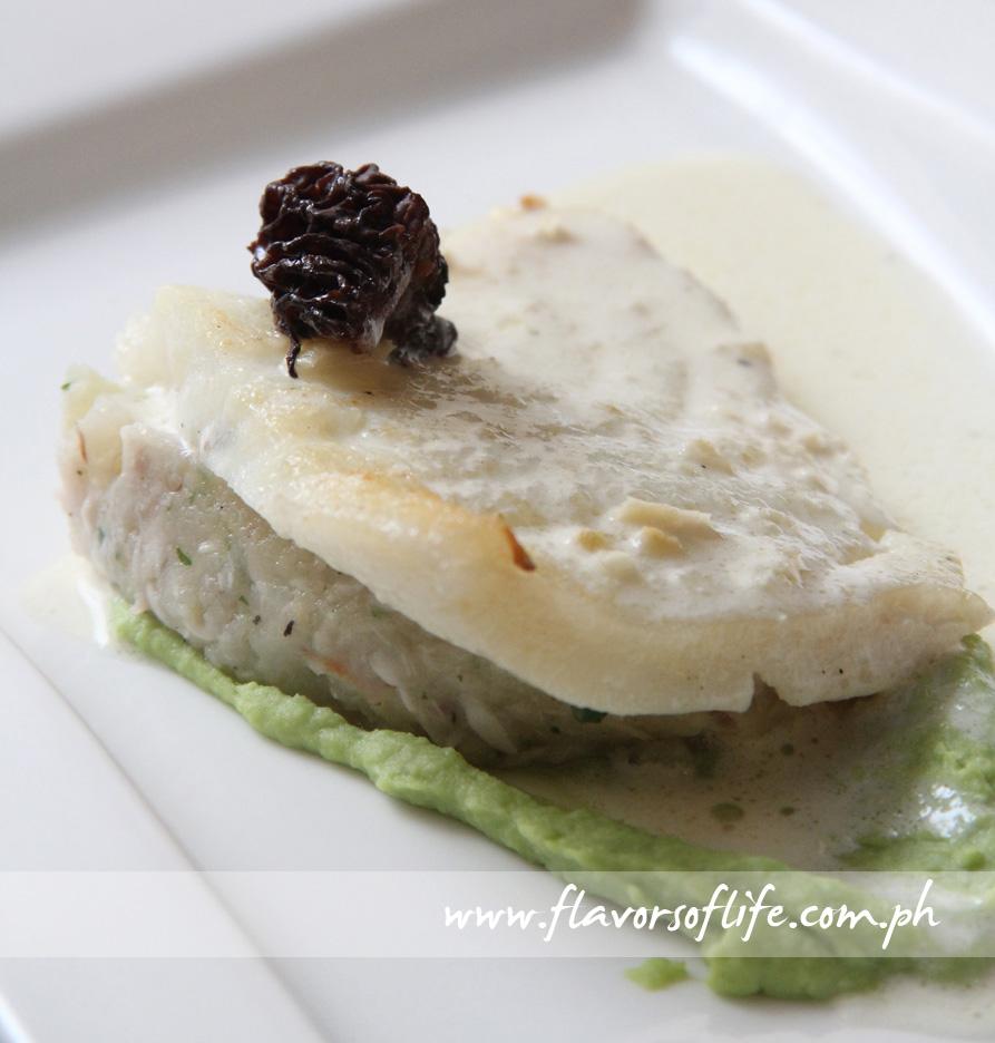 Baked Chilean Sea Bass, Brandade, Green Pea Puree, Truffle, Lemon Beurre Blanc