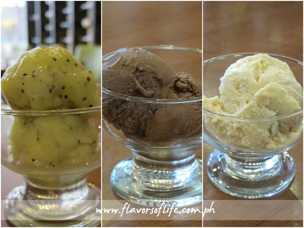Gelato in different flavors: Kiwi, Chocolate and Salted Caramel