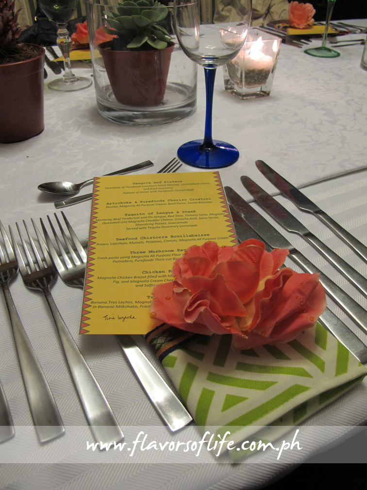 The Mexican-themed table setting for the San Miguel Guerilla Dinner
