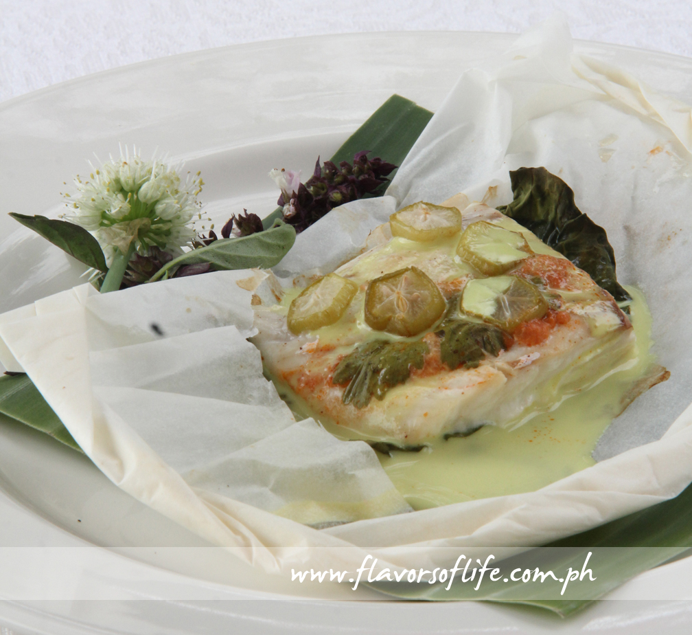 The Sinanglay en Papillote with the Coconut Milk Sauce already poured over the fish