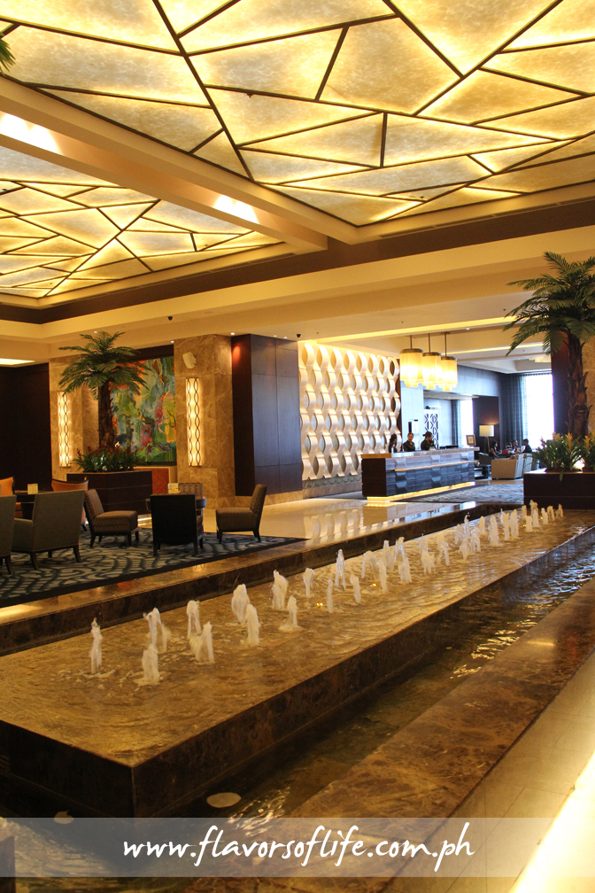 The fountain area at the lobby of Crimson Hotel Alabang