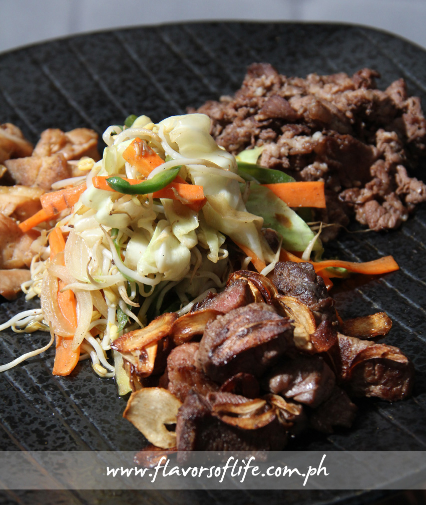 Clockwise from front: Beef Teppanyaki, Chicken Teppanyaki and Beef Misono