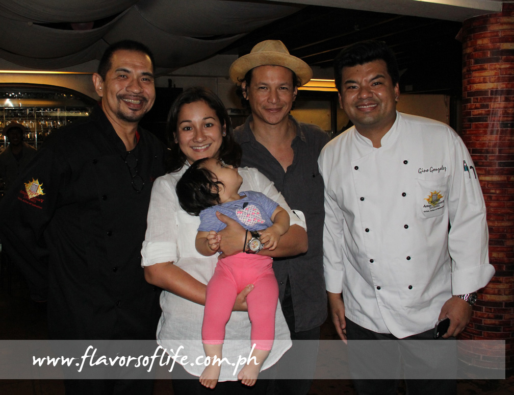 Chef Gene Gonzalez welcomes Bobby Chinn to Cafe Ysabel and CACS. Here with Chef China Cojuangco and Chef Gino Gonzalez with daughter Lucia looking curiously at their guest