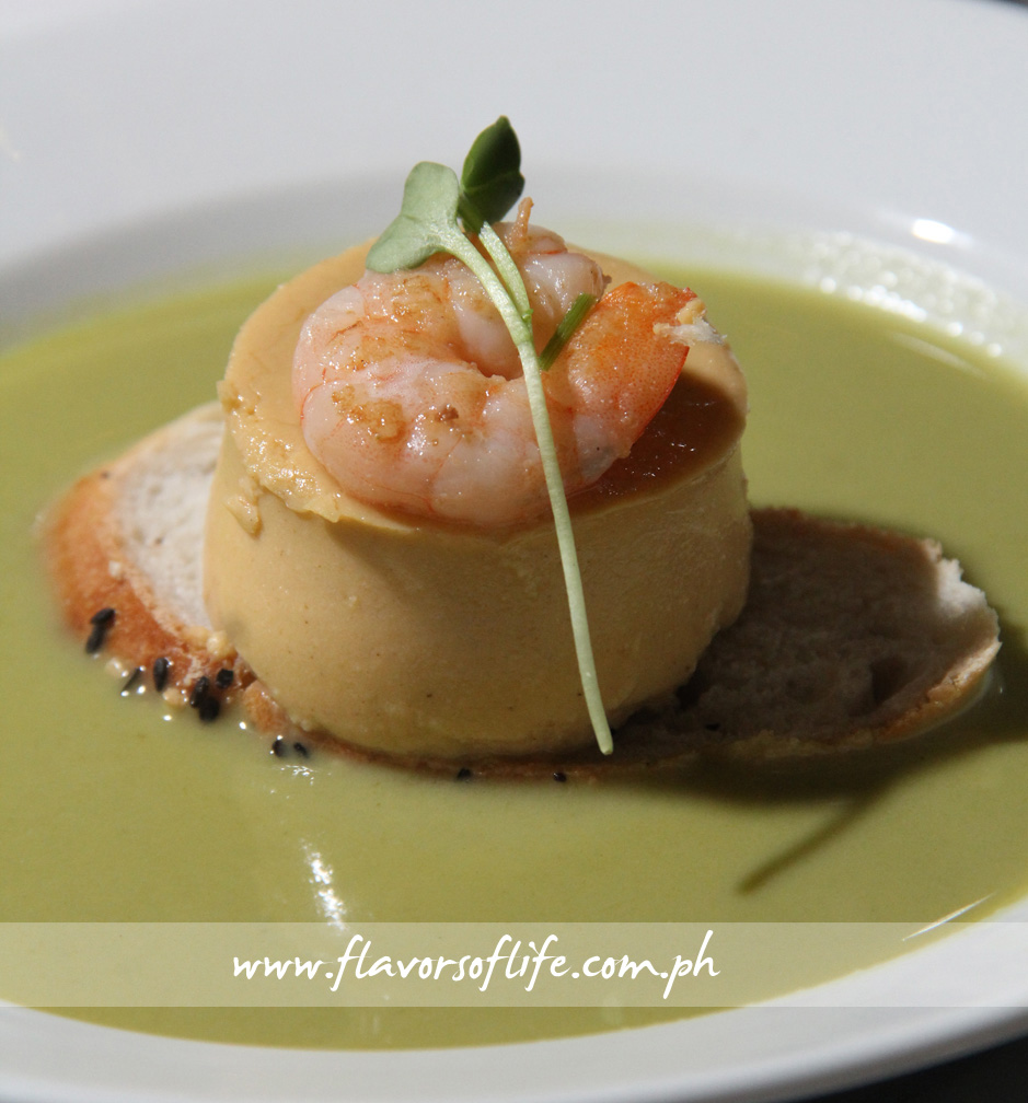 Roasted Crustacean Mousseline with Market Shrimp in Leek Creme Soup
