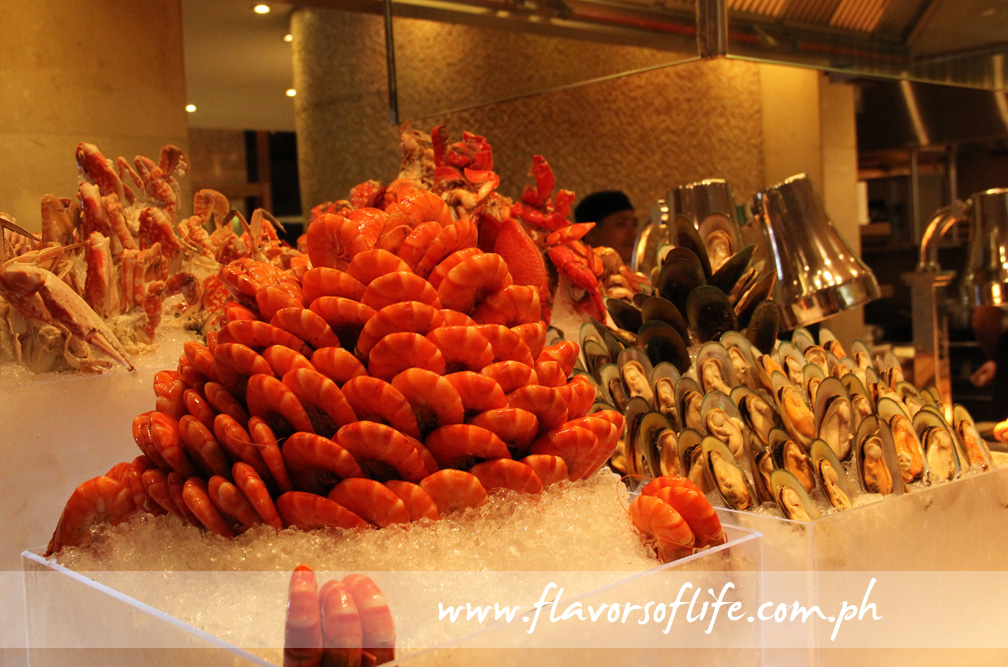 Seafood on beds of ice