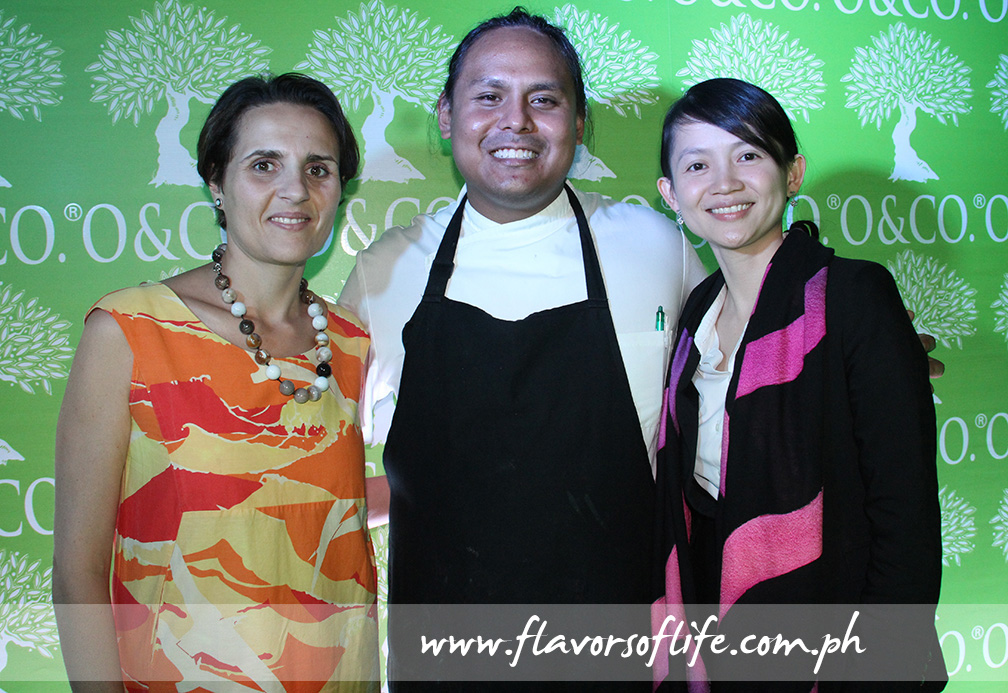 Oliviers & Co.'s sales director Melanie Costaris-Novais and Oliviers & Co. Asia Pte Ltd,s general manager for Asia Pacific May Tan flanking Black Sheep's Chef Jordy Navarro