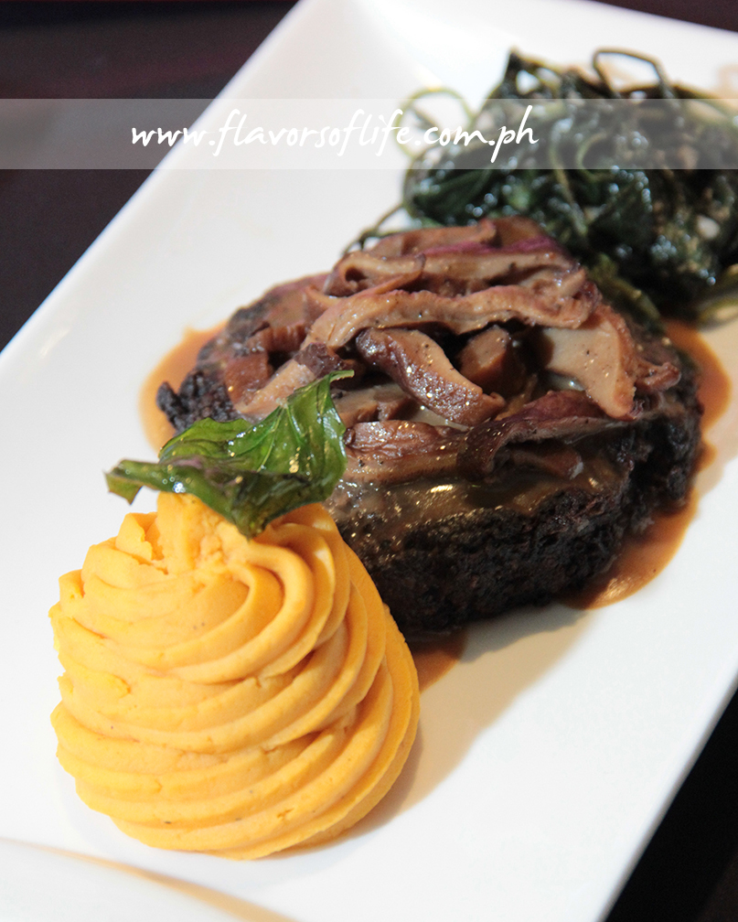 Salis-vermi Steak with Mushroom Gravy and Sauteed Talilong (Water Leaf) Weed by Eric Capaque and Claudette Dy