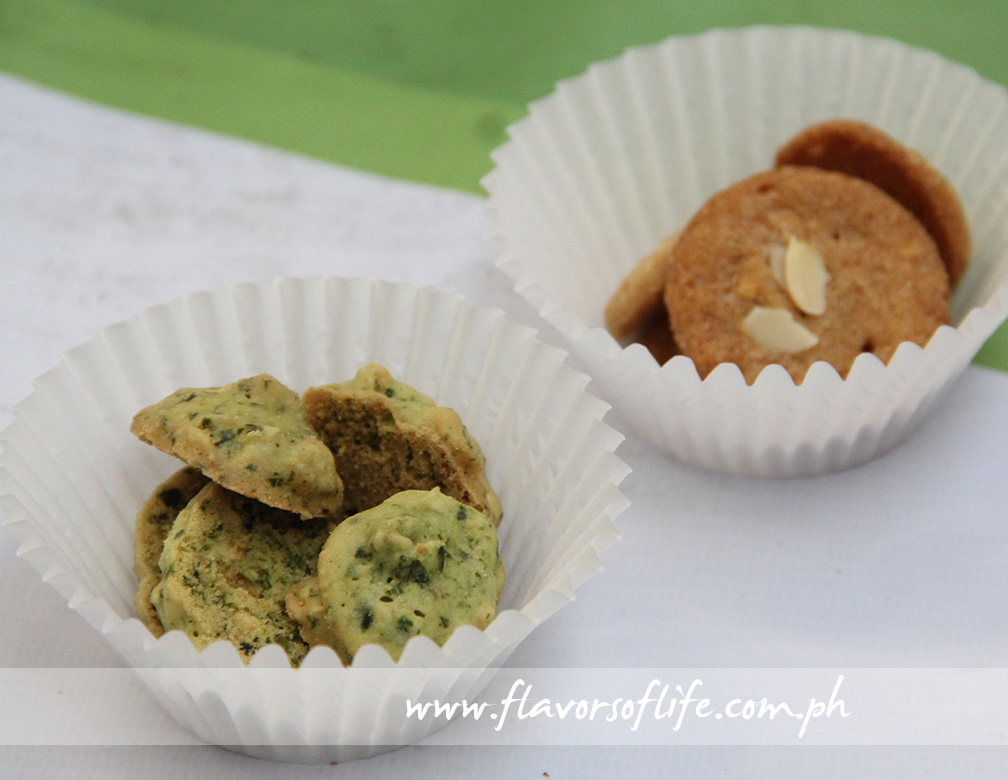 Green Baker's Malunggay Cookies and Almond Ginger Cookies for sampling