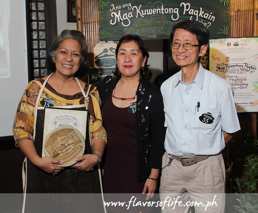 Second placer Marichu Ramos with judges Nancy Reyes-Lumen and Dr. Fernando Zialcita