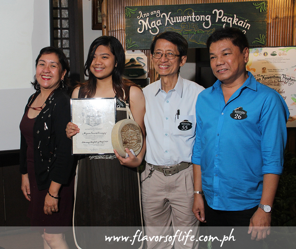 Sixteen-year-old Mignon Frances Dumanjog, 16, grand prize winner of this year's Mama Sita's Mga Kuwentong Pagkain, with judges Nancy Reyes-Lumen, Dr. Fernando Zialcita and Dr. Ed Lapiz