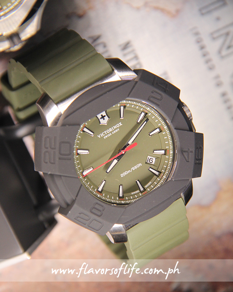 Khaki green dial with khaki green rubber strap I.N.O.X. with its removable black silicone and nylon bumper in place