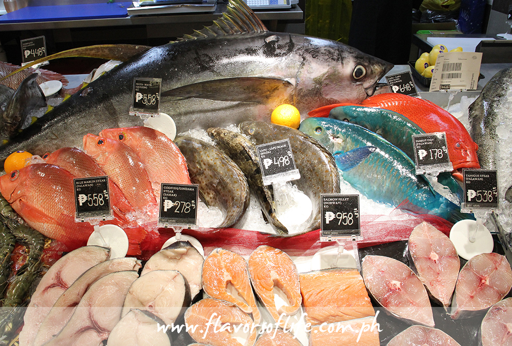 Fish--in different varieties, colors and sizes--can be found at the Fish and Seafood section