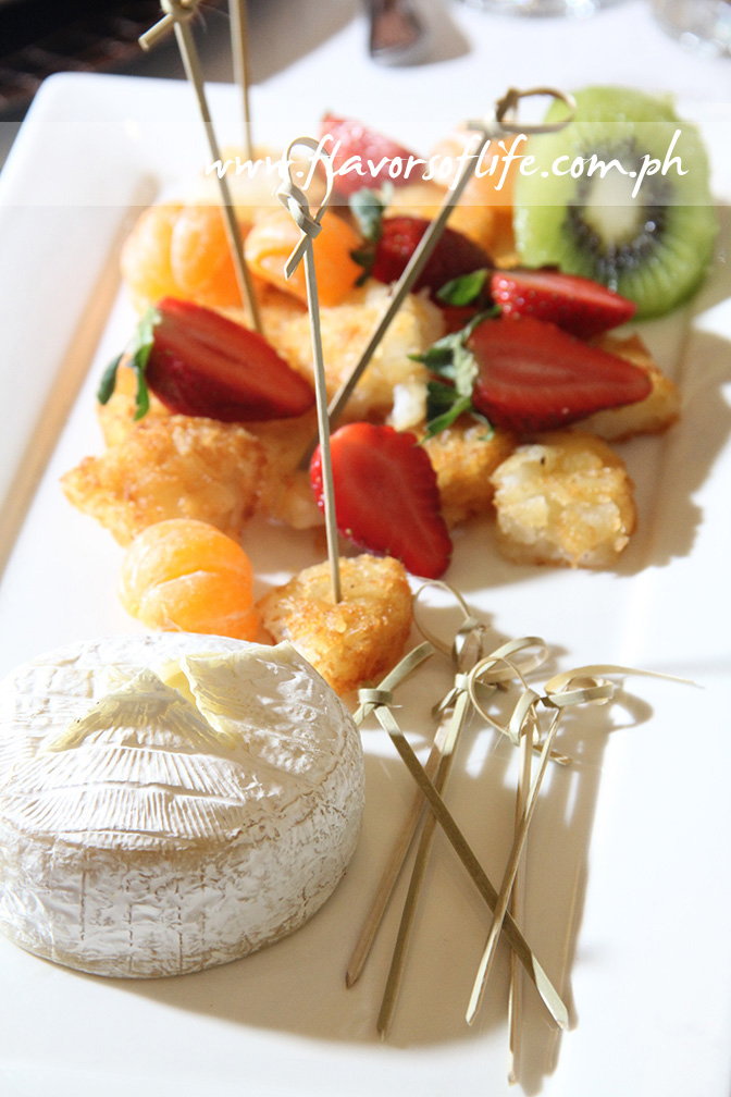 Baked Brie with Potato Croutons and Fruit Delice