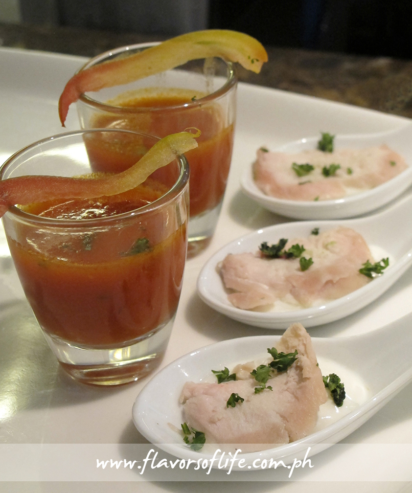 Tomato soup served in shot glasses and Chicken on Tzatziki in individual servings