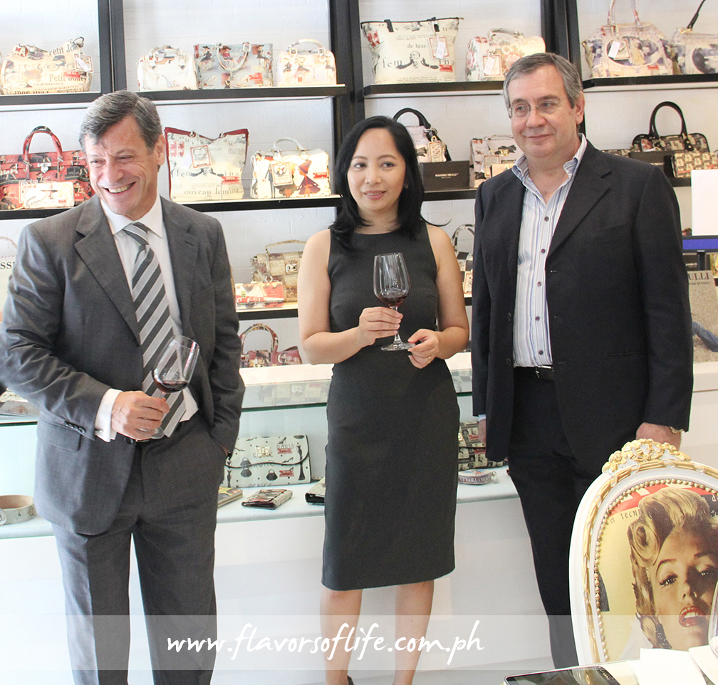 Adriano Stefanutti, one of the owners and wine director and consultant; Atty. Gale Atienza, one of the owners; and Massimo Trulli, top Italian bag and furniture designer; at the Massimo Trulli Fashion, Food & Wine Concept Store, which opened last February 27, 2015