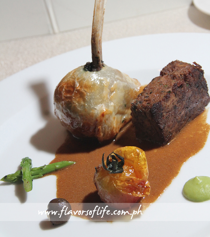 New Zealand Lamb Rack Wellington and Braised Shanks