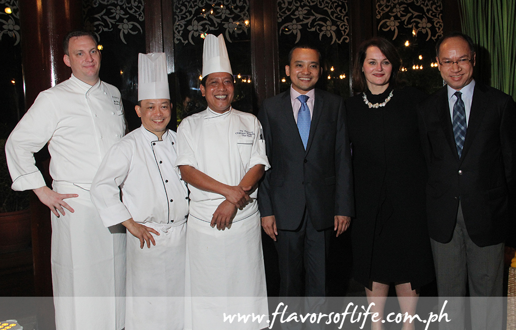Thai guest chef Chamnan Thepchana (third from left) is flanked by The Peninsula Manila's executive chef Mike Wehrle, chef de cuisine A. Phaithoon, general manager Sonia Vodusek-Vecchio and officials from Thai Airways and the Embassy of Thailand