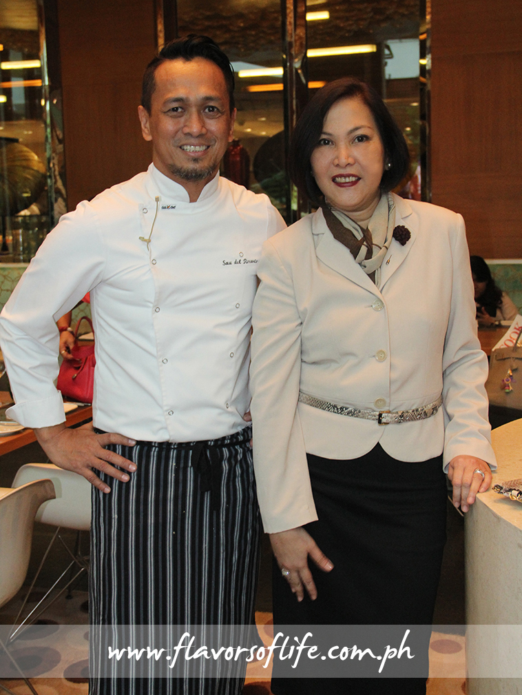 Guest chef Sau del Rosario with Solaire Resort & Casino's director for communications and public relations Joy Wassmer