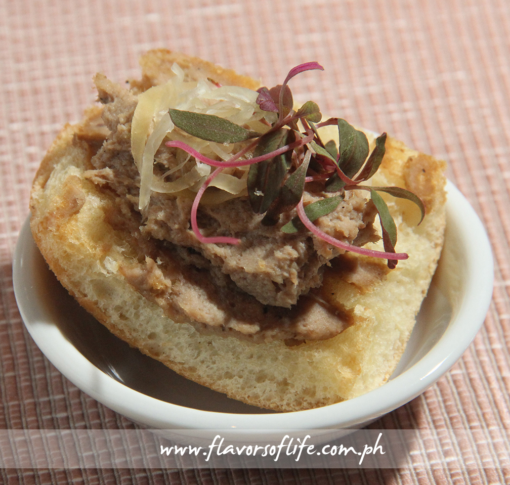 Chef Myrna Segismundo's famous Adobo Pate on bread