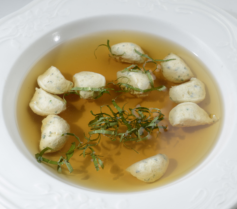 Clear Essence of Wild Game with Herbed Dumplings (Chef Jessie Rockwell Club)
