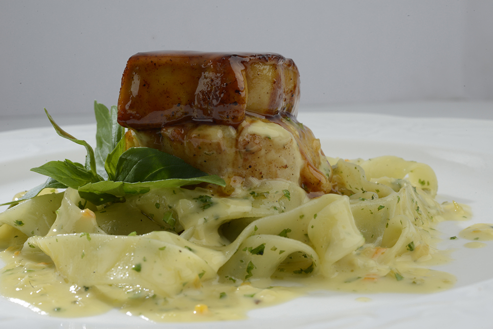 Seared Jumbo Scallop Topped with Pan Fried Goose Liver on Creamy Fettuccine (Chef Jessie Rockwell Club)