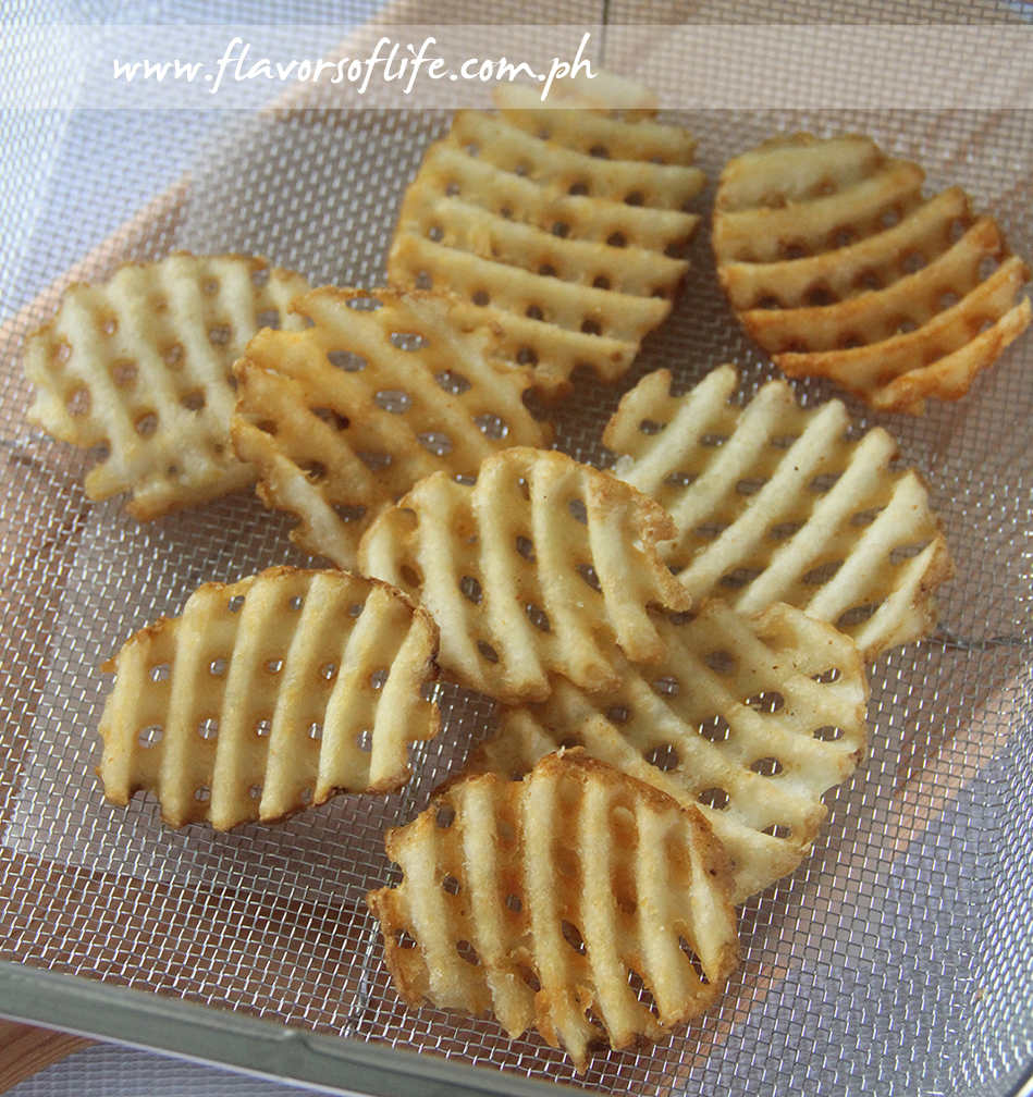 Delicious waffle cut fries cooked to a golden crisp!