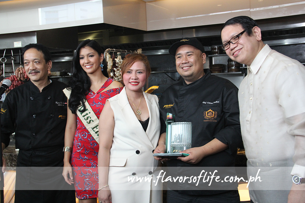 Chef Myke 'Tatung' Sarthou (fourth from left) completes the triumvirate of guest chefs, here seen with F1 Hotel executive chef Eugene San Juan, Ms. Earth 2014 Jamie Herrell, F1 Hotel director of sales and marketing Cindy Brual and GM Tony Co