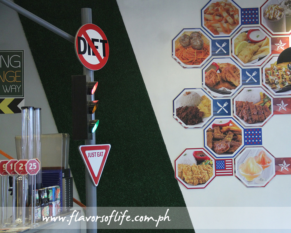 A No-Diet signboard stands right in front of the counter at Chopstop