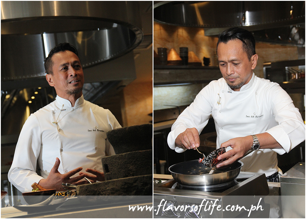 "Celebrity chef Sau del Rosario cooking up a storm in a demo conducted during the recent media launch of Solaire Resort & Casino's ""Filipino Food Festival"""