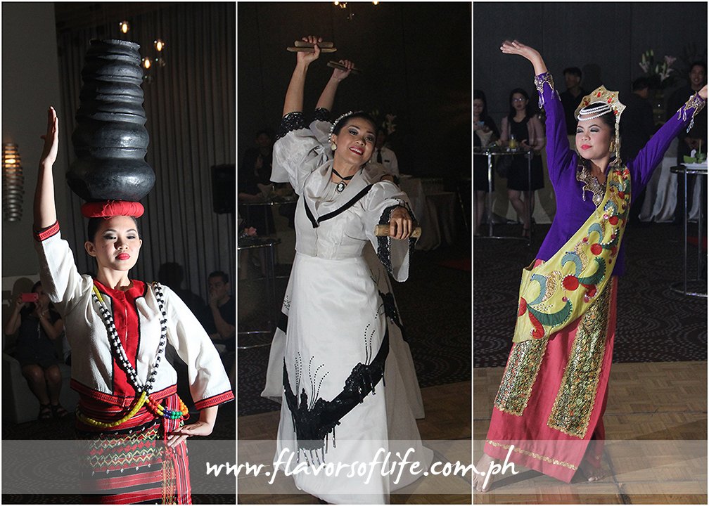 Traditional dances from Luzon (left), Visayas (center) and Mindanao (right) opened F1 Hotel Manila's LuzViMinda 3: Pistang Pinoy food festival