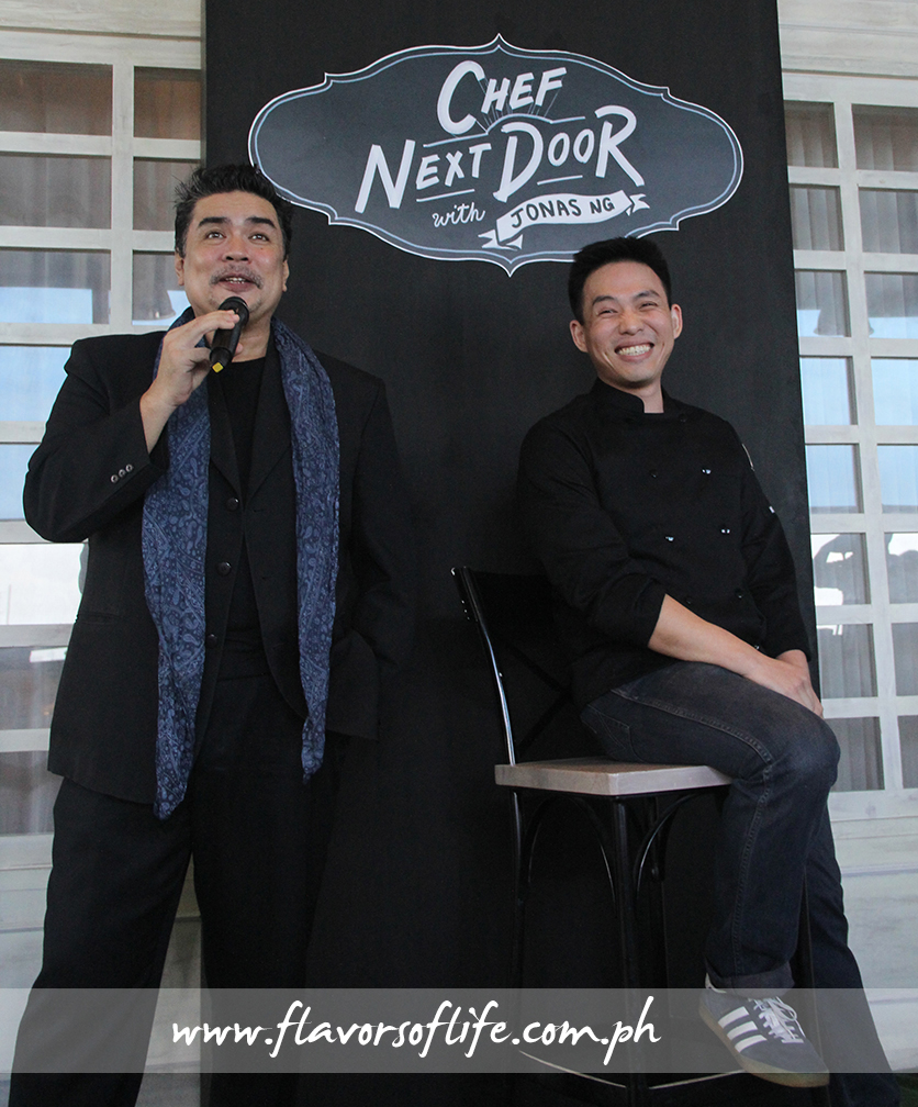 Chef Jonas Ng being interviewed by event host Spanky Enriquez