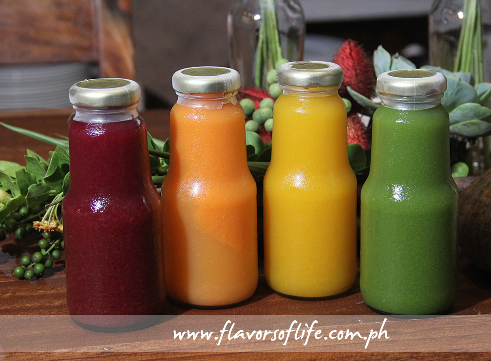 Cold-pressed juices, from right: Red Beet Fusion, Carrot Fusion, Mango Fusion and Energy