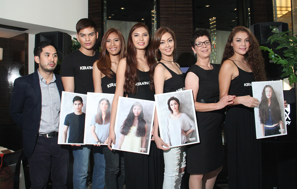 Models, with Zulusibs Inc. general manager Jaton Zulueta (extreme left) and Keratin Complex VP-international sales Mindy Dillan, showing their 'before' photos and sporting their new hairstyles achieved with Keratin Complex's new Menu of Services