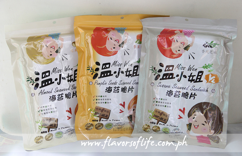 Seaweed sandwich snacks in different variants