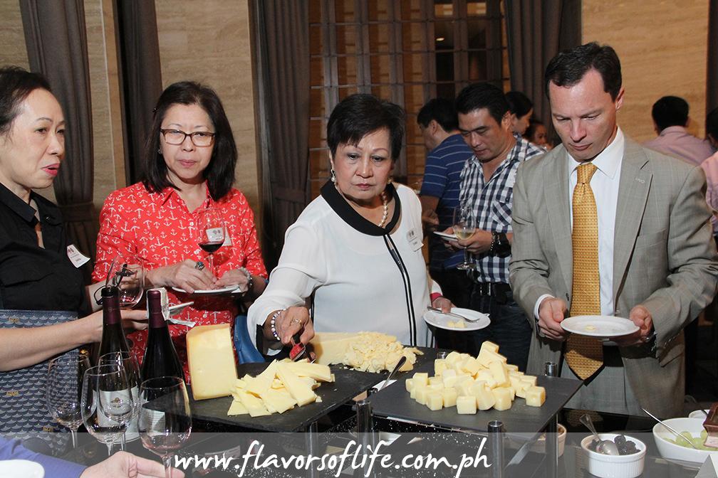 Cheese tasting after the CMAB seminar on California cheese and wine pairing held at Makati Shangri-La Hotel