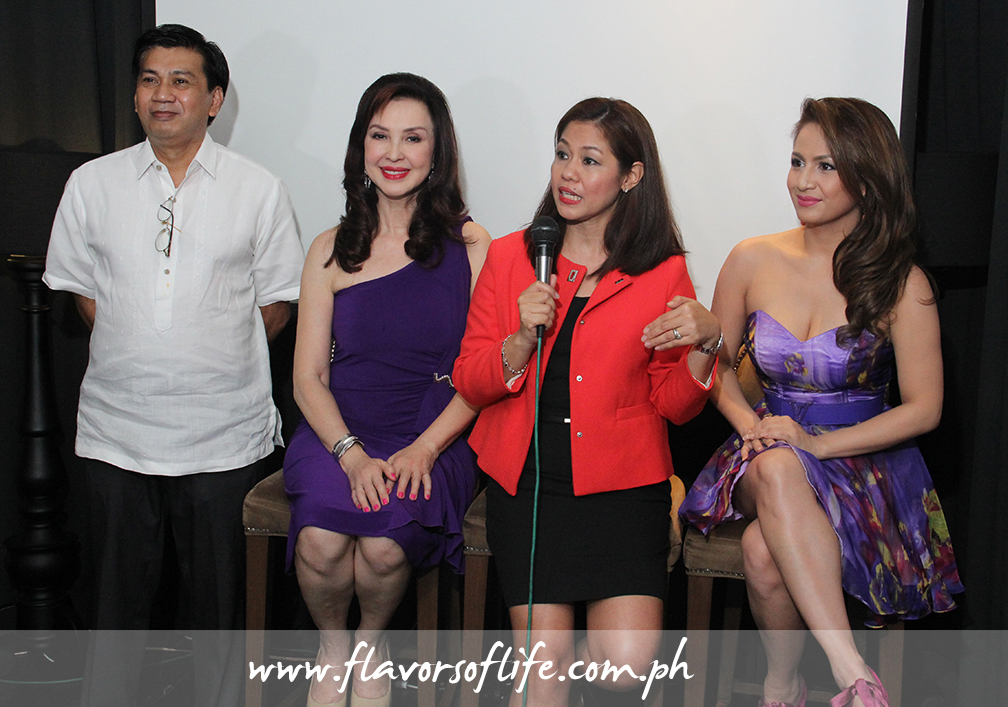During the launch, from left: Dr. Sonny Viloria, health and fitness guru Cory Quirino, Organique Inc. VP for marketing Cathy Salimbangon, and dance diva Regine Tolentino