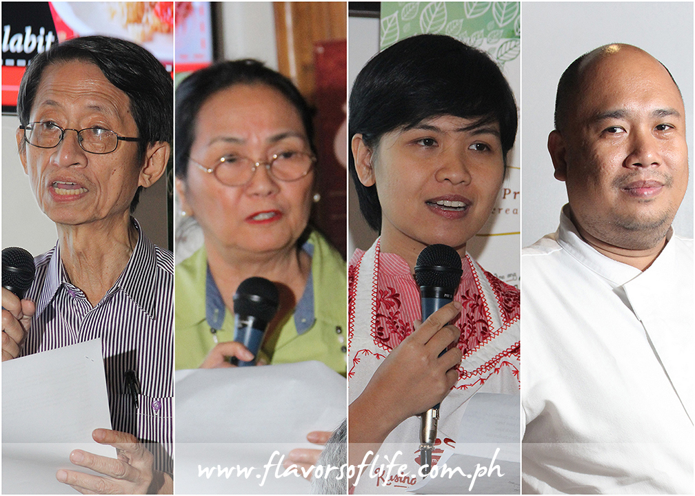 Fromleft: Dr. Fernando Zialcita, director, Cultural Heritage Studies Program, Department of Sociology and Anthropology, Ateneo de Manila University; Clara Lapus, president, Mama Sita Foundation; Cecille Nepomuceno-Gamat, information officer, Mama Sita Foundation; and Chef Myke 'Tatung' Sarthou of Alab Filipino Cuisine