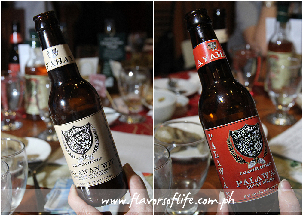 Two variants of Palawan beers made by Palaweno Brewery--Palawan Wit (left), and Palaw'an Honey Kolsch (right)