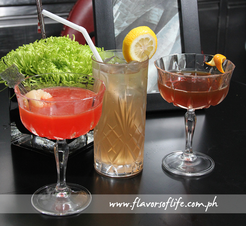 Prohibition Cocktails served at The Peninsula Manila, from left: Monkey Gland, Gunner and Hanky Panky