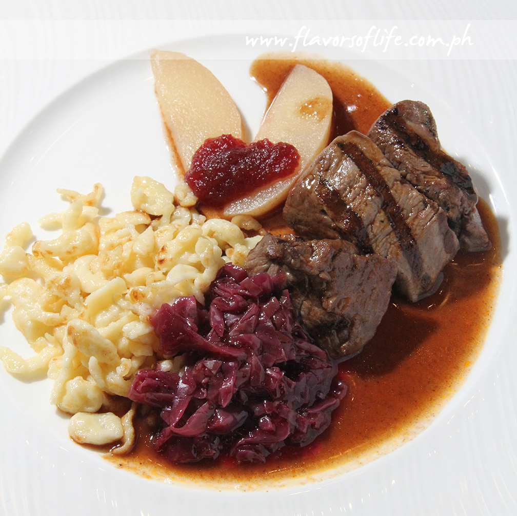 Beef Goulash with Spaetzle, Red Cabbage and Cranberries